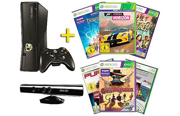 Super! Xbox 360 Bundle mit Kinect-Sensor und 7 Spielen für 155 € bei Saturn Österreich