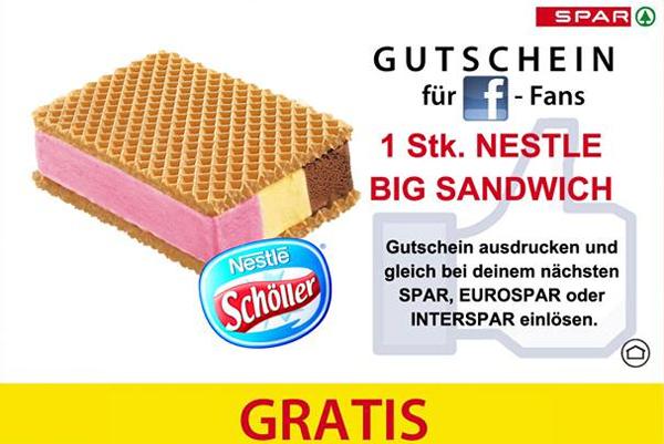 Gratis-Eis: Big Sandwich von Schöller kostenlos bei Spar, Eurospar und Interspar