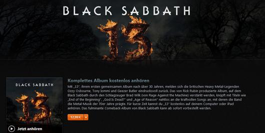 "iTunes: Das neue Black Sabbath Album ""13"" kostenlos streamen"
