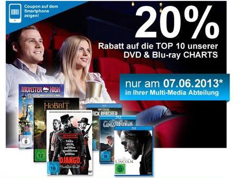 Müller: 20% Rabatt auf die Top 10 der aktuellen DVD- und Blu-ray-Charts