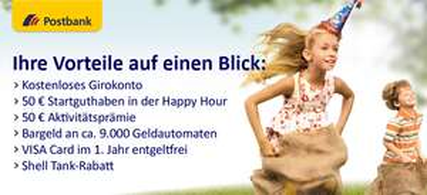 Spitze! Postbank Girokonto dauerhaft kostenlos mit bis zu 100 € Startguthaben in der Happy Hour *Update*
