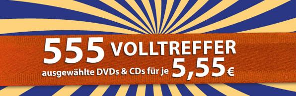 Müller: 20% Rabatt auf 3D Blu-rays und 555 CDs und DVDs für je 5,55 € - ab 10. Juni