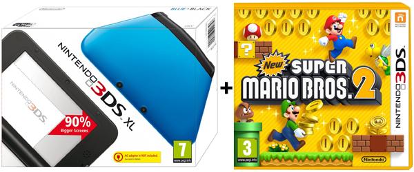 Nintendo 3DS XL + New Super Mario Bros. 2 für 147 € bei Amazon UK - 32% Ersparnis