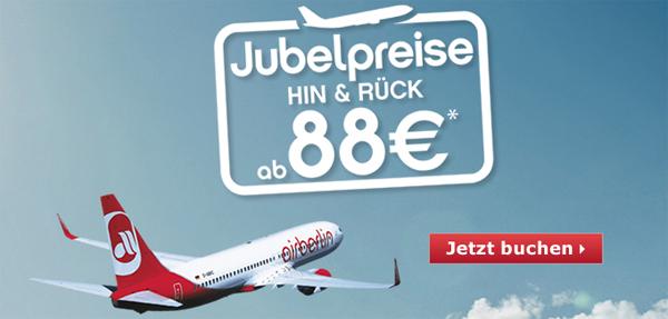 AirBerlin und FlyNiki: Jubelpreise mit europaweiten Hin- und Rückflügen ab 88 €