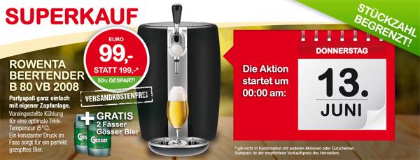 Beertender Rowenta B80/VB2008 + 2 Fässer Gösser für 99 € - 29% sparen