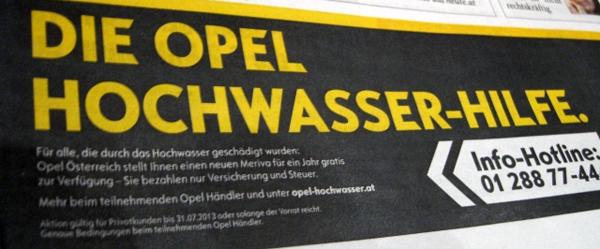 Opel Österreich: 1 Jahr lang fast kostenlos den neuen Meriva fahren - für Hochwasseropfer