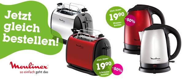 Moulinex-Schnäppchen bei Mömax - z.B. Doppelschlitz-Toaster Subito für 19,90 € statt 30 €