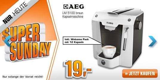 Saturn Super Sunday: Einfache Kapsel-Maschine AEG Favola LM5100 für 19 Euro statt 44 Euro