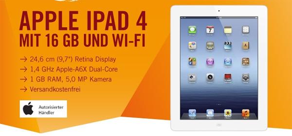 Apple iPad 4 (16 GB, weiß) für 399 € bei Cyberport - 12% Ersparnis