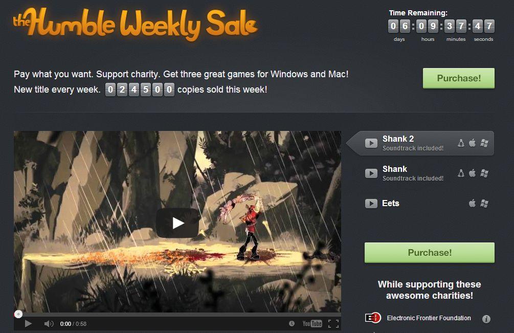 The Humble Weekly Sale mit Shank, Shank 2 und Eets zum selbstgewählten Preis