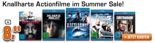 Film-Summer-Sale bei Saturn Deutschland - Ausgesuchte Blu-ray Action-Filme für 8,99 €