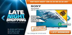 Noch bis 09:00 Uhr: Saturn Late Night Shopping - z.B. mit Sony KDL 42W655 (42'', Full HD, Triple-Tuner)