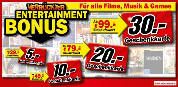 Verrückter Entertainment Bonus bei Media Markt: Geschenkkarten im Wert von 5-30 € beim Kauf von Filmen, Musik oder Games