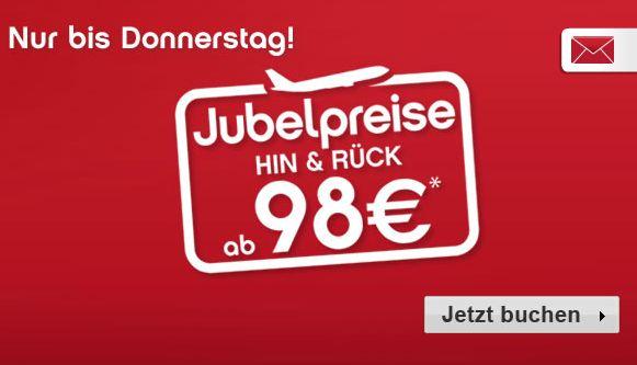 Jubelpreise mit europaweiten Hin- und Rückflügen ab 98 € bei FlyNiki und AirBerlin