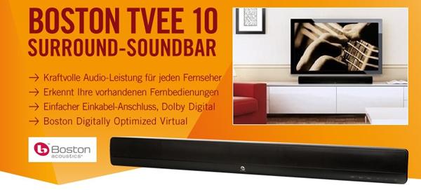 Surround-Soundbar Boston Tvee 10 für 99 € - 16% Ersparnis