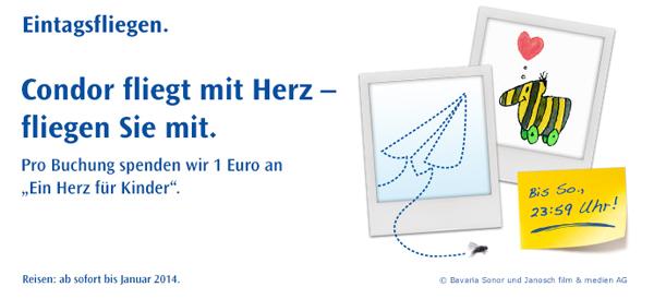 Flugschnäppchen: Eintagsfliegen von Condor mit One-Way-Tickets ab 49,99 €