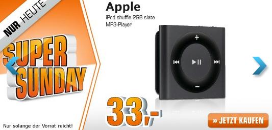 Saturn Super Sunday - heute mit Apple iPod Shuffle ab 33 € oder Metro: Last Light ab 27 €
