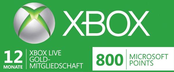 12 Monate Xbox Live Gold + 800 Microsoft-Points für 30,95 € bei Amazon