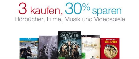 Amazon: 3 Hörbücher, Filme, CDs oder Spiele kaufen und 30% sparen