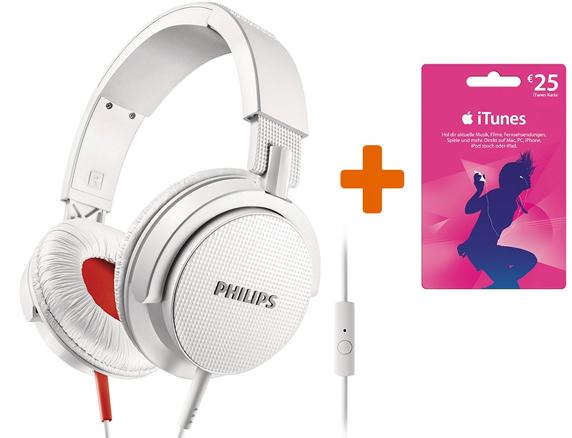 Bügelkopfhörer Philips SHL3105WT + 25 € iTunes-Guthaben für 39,99 €