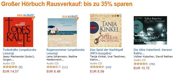 Hörbuch-Ausverkauf bei Amazon mit bis zu 35% Rabatt und zusätzlich 10% sparen mit Gutschein