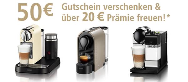 50 € Cashback beim Kauf einer neuen Nespresso-Maschine