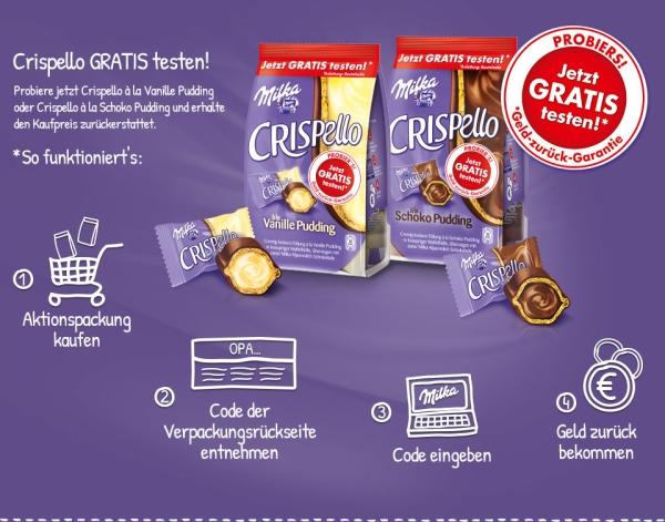 Kostenlos: Geld zurück beim Kauf von Milka Crispello