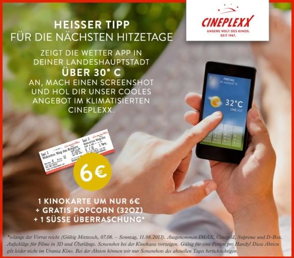 Cineplexx Hitzeaktion: Kinokarte + Popcorn und süße Überraschung für 6 € bei über 30° C in deiner Landeshauptstadt