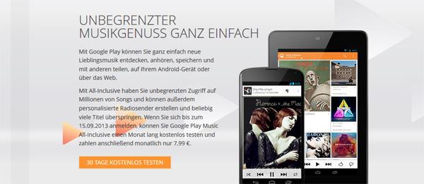 Google Play Music All-Inclusive ab sofort in Österreich - 30 Tage kostenlos testen