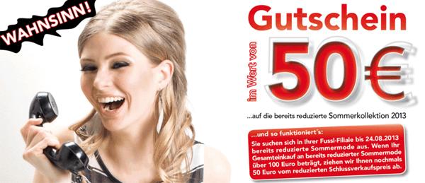 Fussl Modestraße: 50 € Rabatt auf reduzierte Ware ab 100 € Einkauf - mit Gutschein