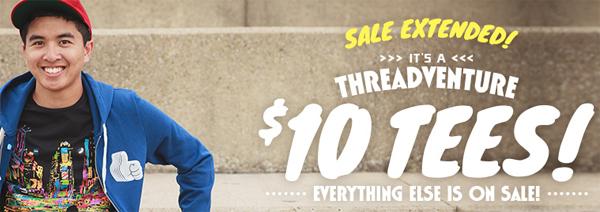 Threadless-Sale mit zahlreichen T-Shirts für jeweils 10 $ (~7,50 €)