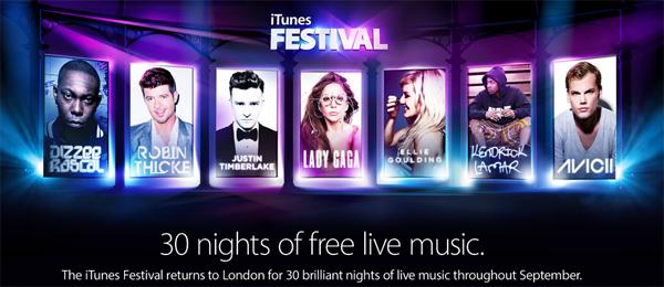 iTunes Festival: vom 1. bis 30. September jeden Abend ein Konzert im Livestream gratis