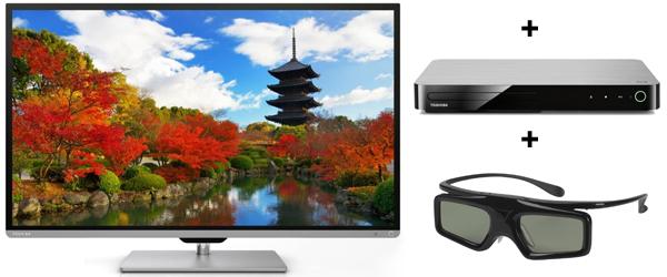Toshiba 40L7333DG (3D, WLAN, Smart TV) + 3D Blu-ray-Player + 3D-Brille für 499 € - 26% Ersparnis