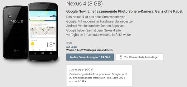 Preissenkung: Google Nexus 4 (8 GB) für nur noch 208,99 €, Nexus 4 (16 GB) für 258,99 €