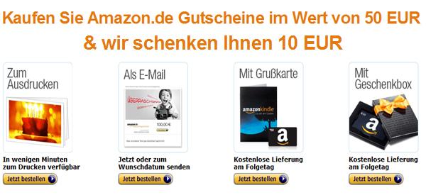 Amazon: 50 € Gutschein kaufen und 10 € geschenkt bekommen