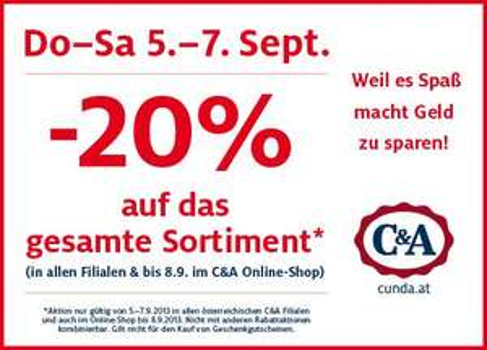 C&A: 20% Rabatt auf das gesamte Sortiment in Österreich *Update* 20% Rabatt auf Kindermode in Deutschland