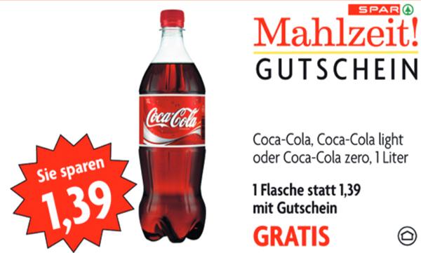 Spitze! Gratis Coca Cola (1 Liter) bei Spar, Eurospar & Interspar - bis 25. September