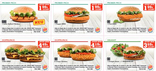 Neues Gutscheinheft für Burger King Österreich für September/Oktober mit Rabatten von bis zu 50%