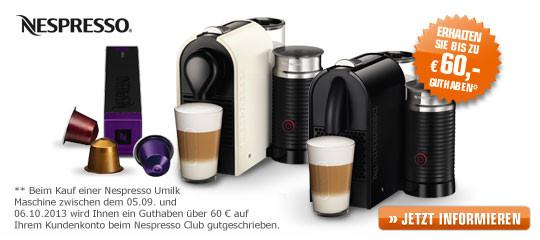 Nespresso: 60 € Guthaben zum Kauf ausgewählter Maschinen - Umilk-Serie ab effektiv 139 €