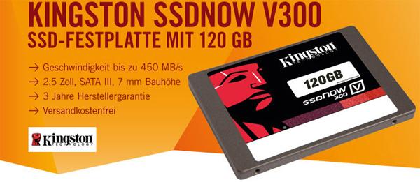 SSD-Speicher Kingston SSDNow V300 mit 120 GB für 59 € - 21% sparen