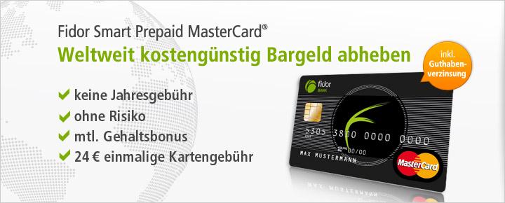 Fidor Smart Prepaid MasterCard für einmalig 24 € - mit Guthabenverzinsung