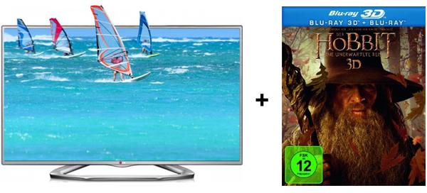 "LED-Backlight-TV LG 32LA6136 (3D, Triple-Tuner, MHL) + 3D Blu-ray ""Der Hobbit"" für 349,99 € - 16% sparen"