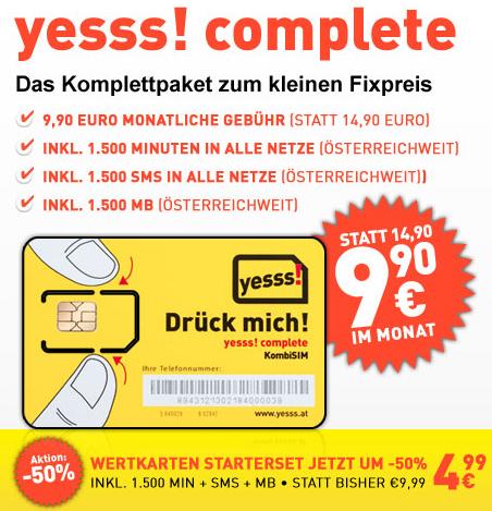 """""""yesss! complete"""" – 1.500 Minuten, 1.500 SMS und 1.500 MB für 9,90 € im Monat"""