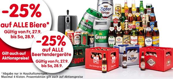 25% Rabatt alle Biere und Beertender-Geräte bei Interspar - am 27. und 28. September