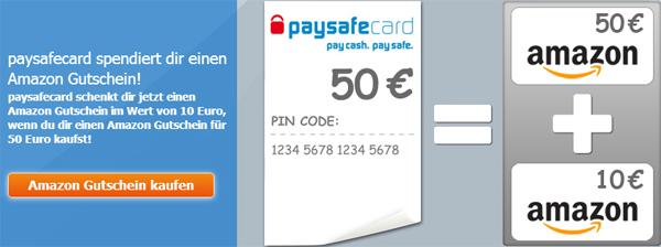 Top! 50 € Amazon-Gutschein bei PaySafeCard kaufen und 10 € Amazon-Gutschein geschenkt bekommen
