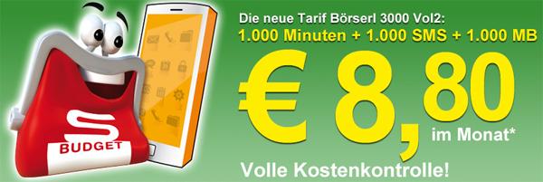 """Spar S-Budget """"Börserl 3000 Vol. 2"""" - 1.000 Minuten, 1.000 SMS & 1.000 MB für 8,80 € im Monat"""