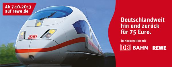 REWE: deutschlandweite Bahn-Tickets für je nur 37,50 € inklusive Sitzplatzreservierung