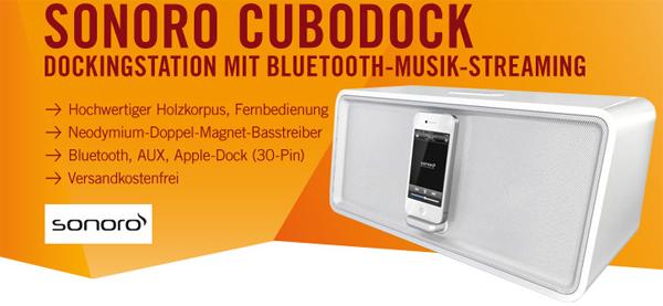 Bluetooth-Lautsprecherdock Sonoro cuboDock für 89 € - 31% Ersparnis