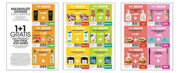 Offline-Gutscheine: 1+1 Gratis auf diverse Produkte bei ADEG, BILLA, BIPA, Merkur und Penny
