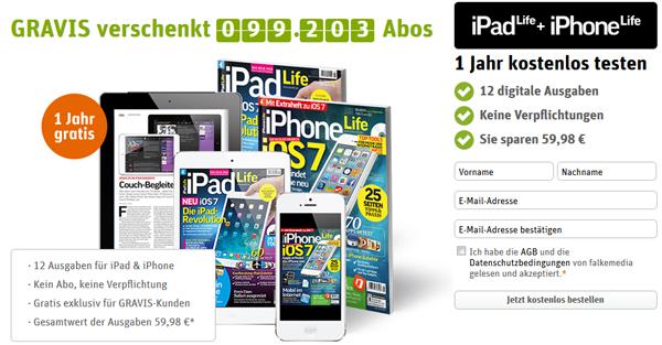 """Gravis: ePaper-Abo der Zeitschriften """"iPad Life"""" & """"iPhone Life"""" kostenlos - keine Kündigung nötig"""